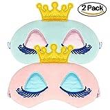 VEMEI 2 unids Princesa Corona Antifaz Para Dormir Girls Eye Cover Sueño Máscara de Ojos Block Out...