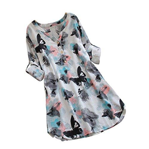 feiXIANG Damen Longshirt Lange Hülsen Hemd Kleid Butterfly Drucken Frauen Für Herbst Frühling Casual Rundhals Tunika (Weiß,XL) -