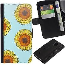 WonderWall (No Para S5) Fondo De Pantalla Imagen Diseño Cuero Voltear Ranura Tarjeta Funda Carcasa Cover Skin Case Tapa Para Samsung Galaxy S5 Mini, SM-G800 - girasol amarillo azul estampado de flores