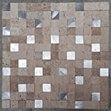 Naturstein Matte Fliesen 30x30 cm Verblender Mosaik Creme Mix Alu Marmor M752
