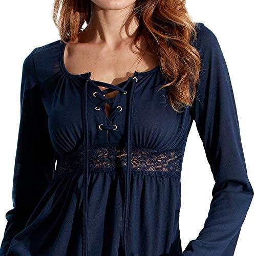 KingProst-Herbst Langarmshirt Damen V Ausschnitt Blusen Falten Hemd Bandages Langarm T-Shirt Einfarbige SchöNe Mode Oberteile Frauen Blusentop