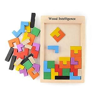Holzpuzzle Tetris Tangram Puzzlespiel Pädagigisches Spielzeug für Kinder Bunte Hölzerne Puzzles pädagogischen Bildung Spielzeug Geschenk