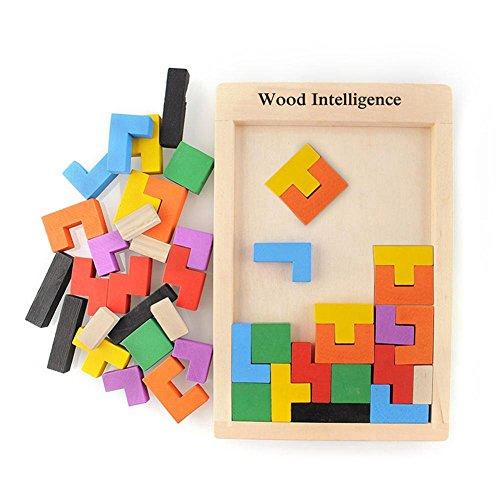 Puzzle en bois Puzzle Tetris Tangram Pädagigisches jouets pour les enfants colorés puzzle en bois...