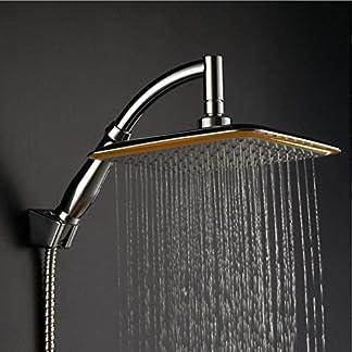 KE1AIP – Columna de ducha giratoria de 360° de 22,86 cm, cuadrada, filtro iónico, ahorro de agua, ducha de mano, otoño e invierno