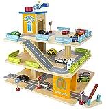 Garage en bois, Parking À Voitures Avec Étage Et Ascenseur + un ensemble de voiture en métal