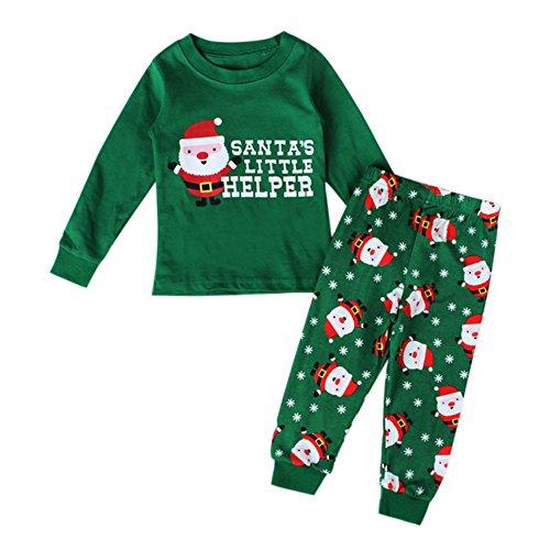 De feuilles Baby Jungen Mädchen Schlafanzug Weihnachten Kinder Pyjama Herbst Winter Nachtwäsche zweiteilig Bekleidungsset Kinder Tierr Pyjama Weihnachten Santa Aufdruck Tops Hose