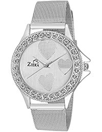 Ziera ZR8027 Silver Heart Analog Watch - For Women