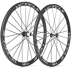 VCYCLE Carbono Ruedas de Bicicleta de Carretera 700C 38mm Tubular 23mm de Ancho 1400g Shimano o Sram 8/9/10/11 Velocidad