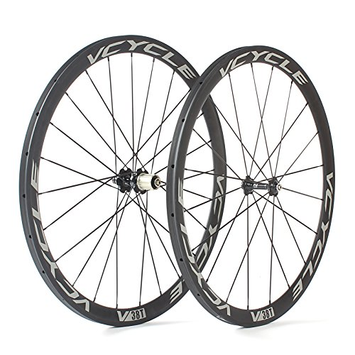 VCYCLE Roues Carbone Route 700C 38mm Tubular 23mm Largeur 1400g Shimano ou Sram 8 / 9 / 10 / 11 Vitesse