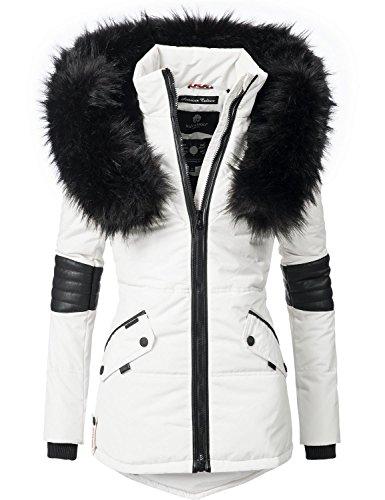 Navahoo nirvana giacca invernale da donna con cappuccio in pelliccia sintetica nera bianco m