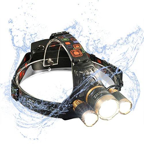 ZIUMIER USB Aufladbare LED Stirnlampe, 4 Modi,5000 Lumen Hell Kopflampe, Wasserdicht Zoomable CREE LED Wiederaufladbar Stirnlampen, für Sport Outdoor Wandern Angeln Radfahren Joggen Camping