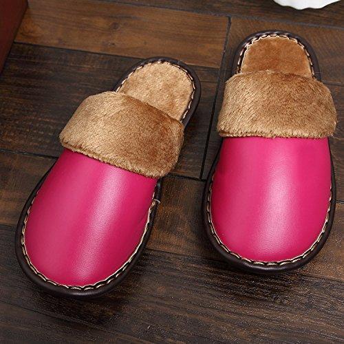 Mhgao domestici autunno e inverno per il tempo libero in cotone pantofole da donna caldo faux-leather indoor pantofole rose red