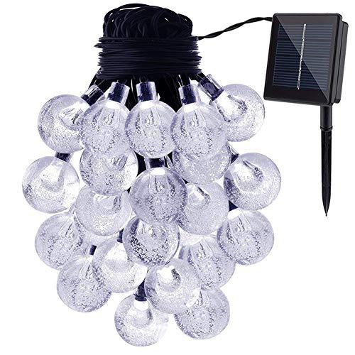Guirlande Lumineuses Solaire D'extérieur,KEEDA 6 Mètres 30LED Boules LED Impermeable,Décoration D'extérieur/ Lumières Solaire Eclairage Solaire Extérieur,Lumières Chaines de Noël (Blanc)