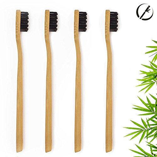 ♻ Planet Bamboo ♻ 4er-Sparset Bambus Zahnbürsten für Erwachsene (Schwarz | Medium-Soft), schmaler Griff und Aktivkohle-Borsten für eine natürliche Zahnreinigung, süße Panda Verpackung, biologisch abbaubare Holzzahnbürste (bamboo toothbrush)