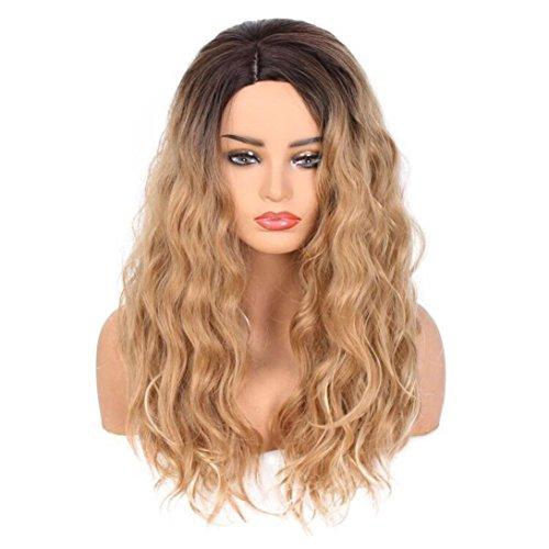 Frauen Fashion Lady Große Welle Abstufung Goldene Perücke Lockiges Haar natürlich Hair Synthetische Gewellt hitzebeständig Perücke für Karneval Fasching Cosplay Party Kostüm (Gold) (Roten Kostüm Die Haare Färben)