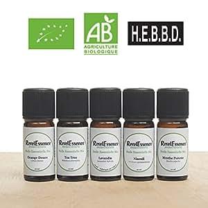Pack de 5 Huiles Essentielles BIO 10 ml Revelessence : Tea tree, Orange douce, Menthe poivrée, Lavandin, Niaouli - 100% pures et naturelles