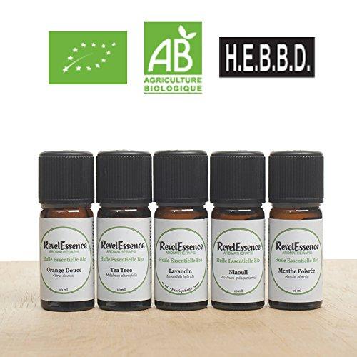 Pack 5 Biologisches ätherisches Öl : Pfefferminze, Lavandín, Tea Trea, Süß Orange, Niaouli : 10 ml - 100% rein und natürlich (Süß Aromatherapie)