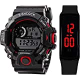SELLORIA Digital Unisex-Child Watch (Black Dial) (Pack of 2)
