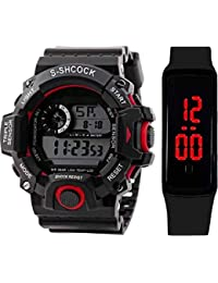 SELLORIA LED Digital Black Dial Silicone Bracelet Boys Kids Watch Combo Pack of 2-2020 Latest Watches for Boys