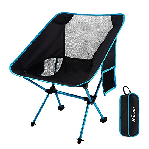 Folding Chair,KUYOU Lightweight & Durable Aluminum Alloy Frame Seat with Carry Bag Case,Perfect for Outdoor Hiking,Camping, Festivals, Garden, Caravan Trips, Fishing, Beach, BBQs etc((Hold up to 330 lbs,Blue)