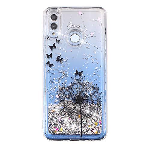 Miagon Flüssig Hülle für Huawei Honor 10 Lite/P Smart 2019,Glitzer Weich Treibsand Handyhülle Glitter Quicksand Silikon TPU Bumper Schutzhülle Case Cover-Löwenzahn Schmetterling