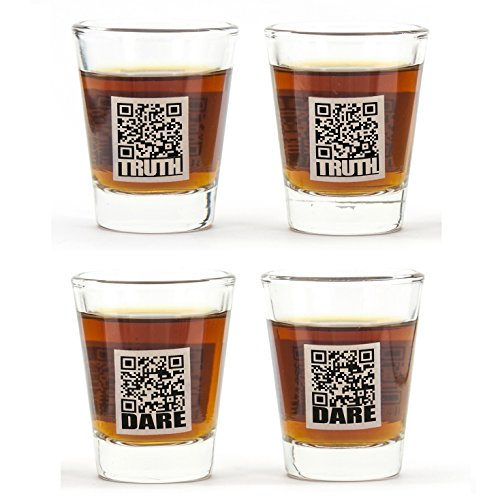CKB Ltd® Set of 4 Glass TRUTH or DARE Shot Shooter Glasses - Use With Your Smartphone Ideal Game for Stag Hen Friends Parties Fun Novelty - Gift Boxed by CKB Ltd