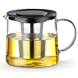 TAMUME 1500ML Schwarz Dauerhaft Glas-Teekessel mit Teekanne-Schutz und...