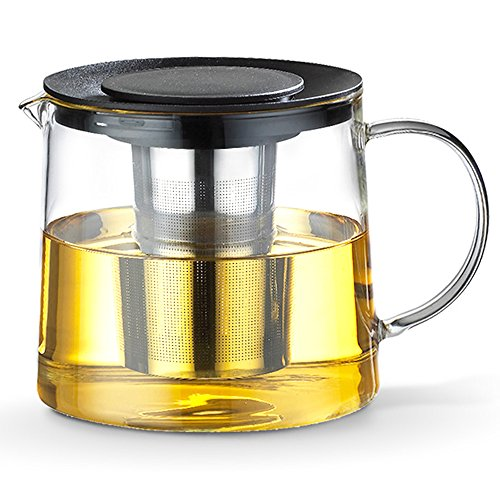 TAMUME 1500ML Schwarz Dauerhaft Glas-Teekessel mit Teekanne-Schutz und Edelstahl-Sieb Geeignet für Tee-Brauen