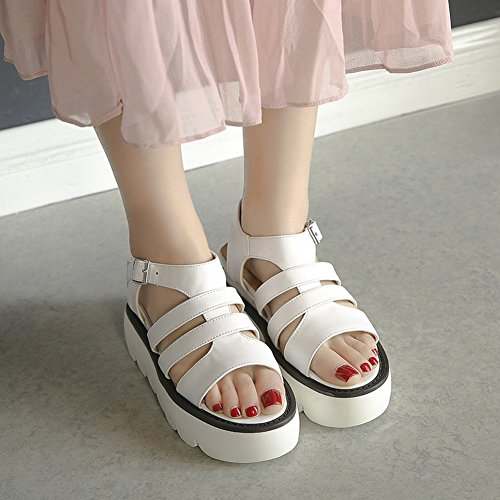 Mee Shoes Damen Keilabsatz s Slingback Sandalen Weiß