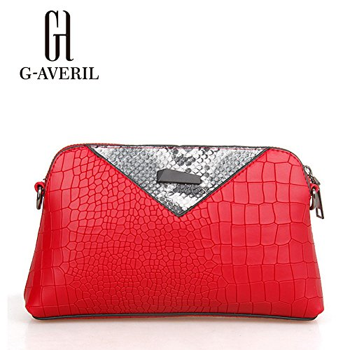(G-AVERIL) Borsa a Mano Spalla Donna Elegante Pelle Ragazza Grande Borsetta Borsa Tote Shopping Bag Handbag for Women rosso