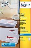 Avery Zweckform J8160-25 Adress-Etiketten (A4, Papier matt, 525 Stück, 63,5 x 38,1 mm) 25 Blatt weiß