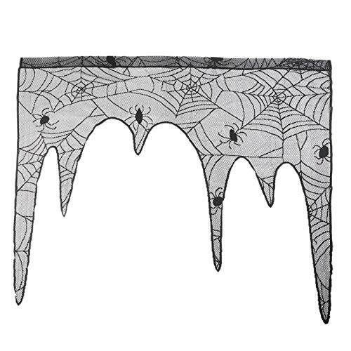 Pynxn - 1 PC Halloween-Dekoration Reizende Spitze Spiderweb Kamin-Mantel-Schal-Abdeckung Vorhänge Jalousien Festliche Party Supplies [A2] (Für Kamine Mantel Abdeckungen)