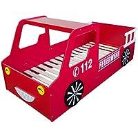 Preisvergleich für Homestyle4u 1583, Kinderbett, Motiv Feuerwehr, Holz Rot Weiß, 90x200 cm
