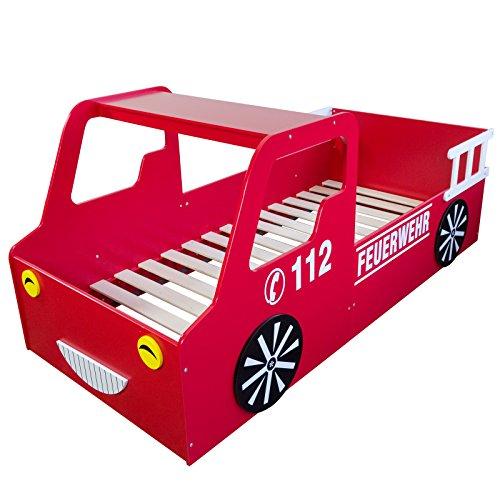 feuerwehrbett Homestyle4u 1583, Kinderbett, Motiv Feuerwehr, Holz Rot Weiß, 90x200 cm