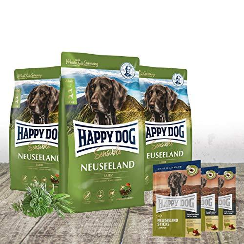 Happy Dog - Neuseeland Lamm & Reis 3 x 4 kg stets frischer Beutel + passend zur hypoallergenen Formel 3 x 30 g Tasty Snacks Neuseeland gratis