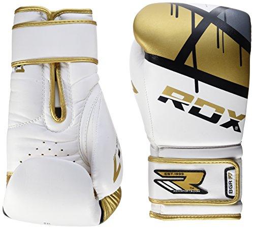 RDX Rindsleder Quadro-Dome Boxhandschuhe F7, Gold, 10 oz
