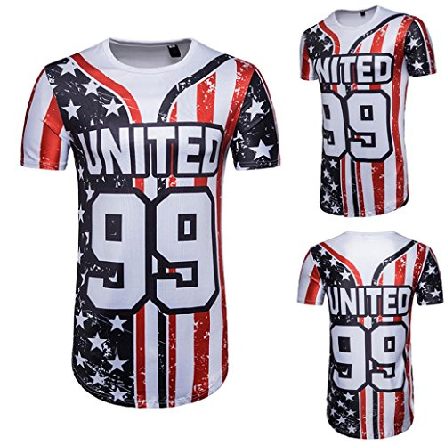 T-Shirt Top Blouse, Malloom Hommes Football Été Drapeau Américain Imprimer Lettre Manches Courtes
