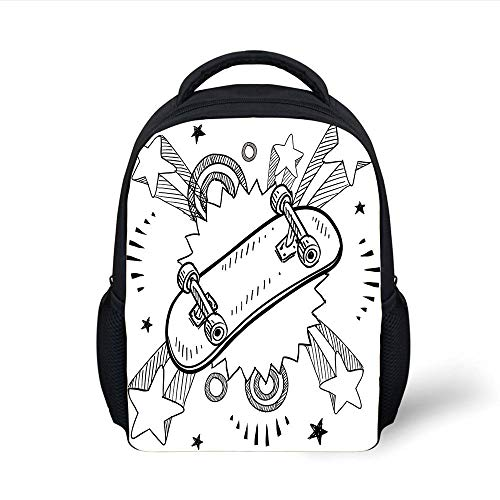Kids School Backpack Doodle,Sketch of a Skateboard with Sixties and Seventies Style Pop Explosion Background Decorative,Black White Plain Bookbag Travel Daypack (Wheels Camo Skateboard)