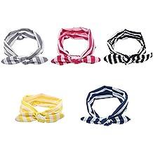 EQLEF® 5 pezzi di Rabbit Ears fasce elastiche Stripe capelli Hoops per il bambino scherza