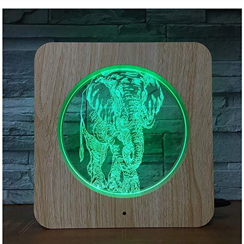 Luz De Noche 3D Tailandia Elefante Led Lámpara De Mesa Control Remoto Cambio De Color Decoración Del Hogar
