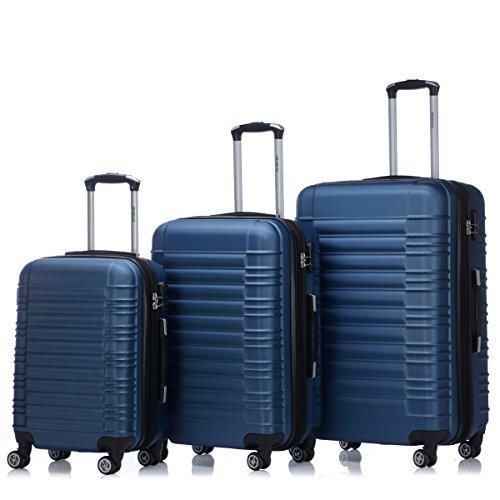 BEIBYE Zwillingsrollen 2088 Reisekoffer Koffer Trolleys Hartschale in XL-L-M in 14 Farben (Blau, Set)