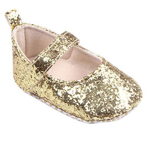 Scarpine primi passi per suo,Sandali con paillettes per bambine e ragazze,YanHoo Scarpe Toddler Girl Soft Culla Scarpe Paillettes Sneaker Baby Shoes (12, Oro)