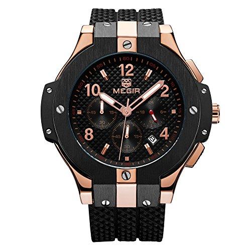 Herrenuhren Multifunktionale Sport-Armbanduhr mit 24-Stunden-Anzeige für Mann Jungen Megir-Chronograph Wasserdicht Auto-Datum