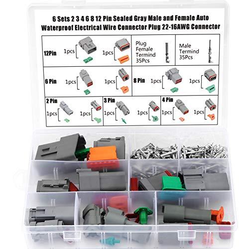 WiMas 6 Sets Auto Impermeabile Connettore, Connettore Isolato e Sigillato, Terminali Elettrici Plug 2/3/4/6/8/12 Pin, Grigio