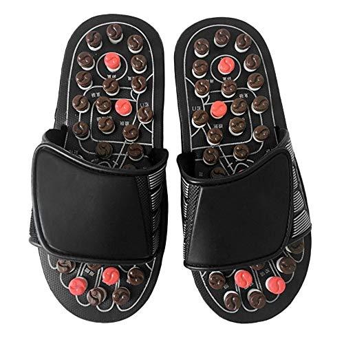 2db2d99a3c CHOULI Foot Massage Slippers Reflexology Massage Sandals Pebble Stone  Massage Shoes Black M