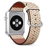 Compatible avec Apple Watch 38mm et 40mm Cuir Montre Bracelet Sangle Bracelet en Acier Inoxydable avec Fermoir et adaptateurs (Japonais Crème Orange Floral géométrique)