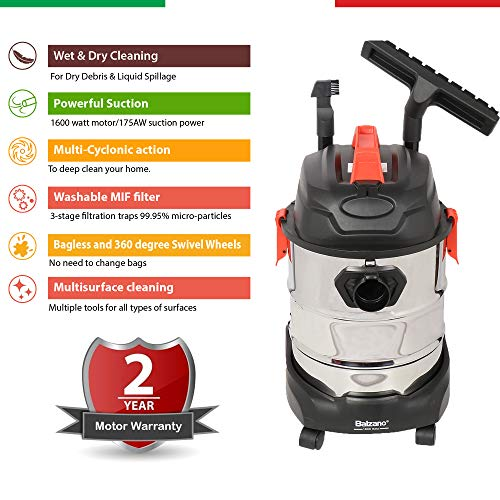 Balzano Wet and Dry Professional K-606 1600 Watt Vacuum Cleaner with Blower Function, 25-litres (Silver)