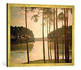Gerahmtes Bild von Walter Leistikow Abendstimmung am Schlachtensee, Kunstdruck im hochwertigen handgefertigten Bilder-Rahmen, 80x60 cm, Gold raya