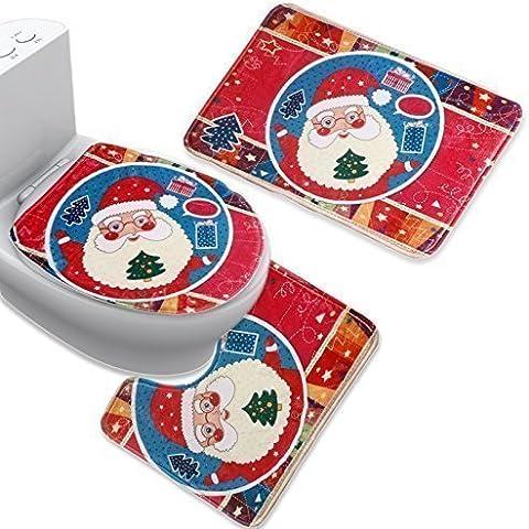 Franela Uomere notebookbits Santa Claus 3 piezas Juego de baño contmpsf alfombra baño magmle feliz Navidad