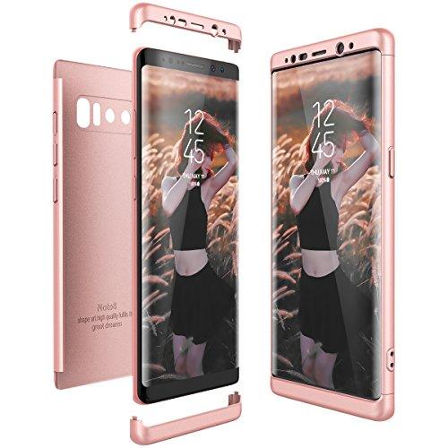 CE-Link für Samsung Galaxy Note 8 Hülle Hardcase 3 in 1 Handyhülle Ultra Dünn 360 Grad Full Body Schutz Schutzhülle Bumper - Rosegold
